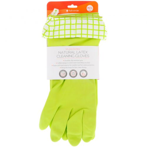 Full Circle, Splash Patrol, Natural Latex Cleaning Gloves, Green, Size M/L