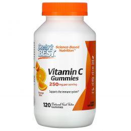 Doctor's Best, Жевательные таблетки с витамином C, апельсиновое блаженство, 250 мг, 120 жевательных таблеток