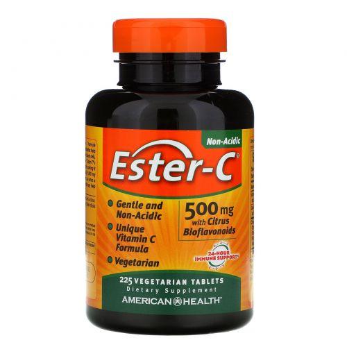 American Health, Эстер-C, 500 мг с цитрусовыми биофлавоноидами, 225 растительные таблетки