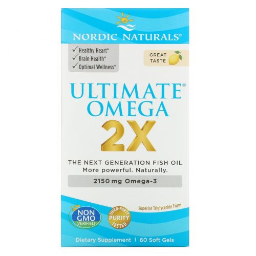 Nordic Naturals, Ultimate Omega 2X, Lemon, 60 Softgels