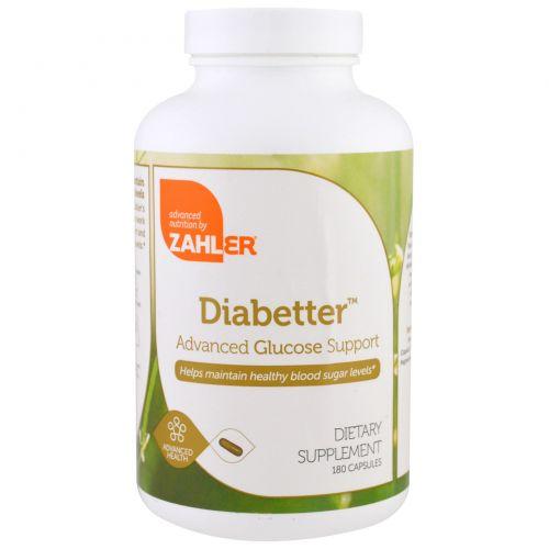 Zahler, Diabetter, расширенная глюкозная поддержка, 180 капсул