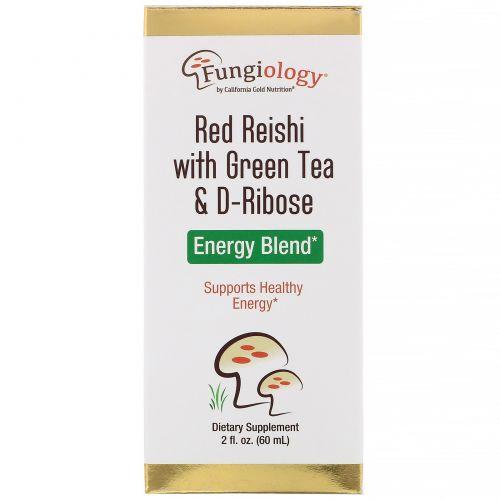 California Gold Nutrition, Fungiology, красные рейши с зеленым чаем и рибозой, энергетическая смесь, 2 жидк. унц. (60 мл)