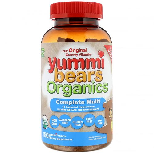 Hero Nutritional Products, Yummi Bears Organics, Complete Multi-Vitamin, All Natural Fruit Flavors, 180 Gummy Bears