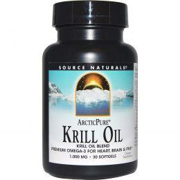 Source Naturals, Арктическая чистота, Масло морского криля, 1,000 мг, 30 капсул