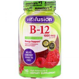 VitaFusion, Витамины для взрослых с B12, повышения уровня энергии, натуральный малиновый вкус, 1000 мкг, 140 жевательных таблеток