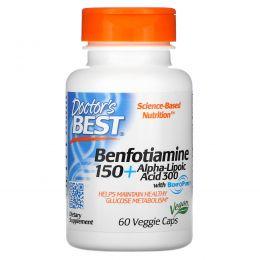 Doctor's Best, Best Benfotiamine 150 + альфа-липоевая кислота 300, 60 растительных капсул