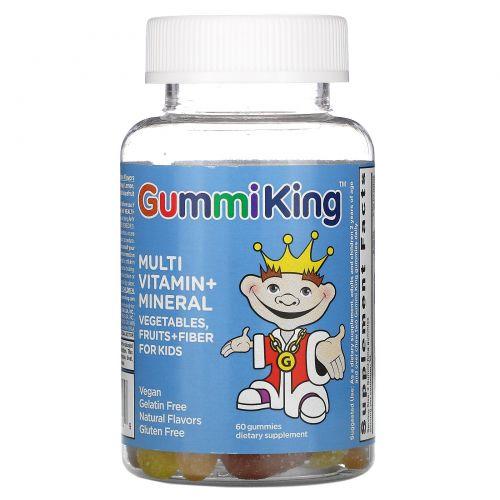 Gummi King, Мультивитаминно-минеральная добавка, с овощами, фруктами и волокнами, для детей, 60 тянучек