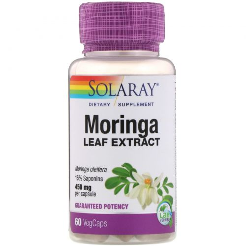 Solaray, Экстракт из листьев моринги, 450мг, 60растительных капсул