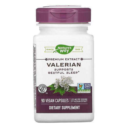 Nature's Way, Стандартизированный экстракт валерианы, 90 капсул