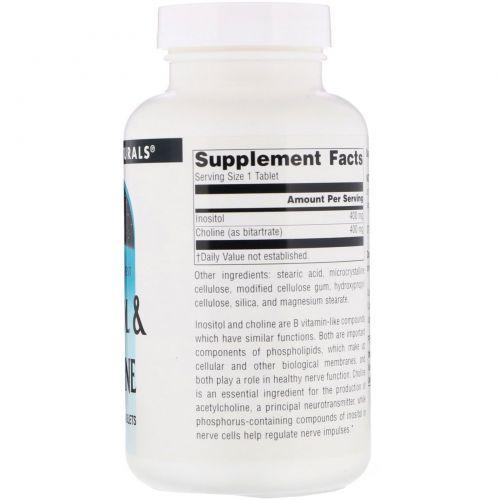Source Naturals, Инозитол и холин, 800 мг, 100 таблеток