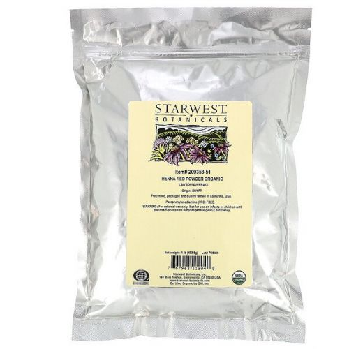 Starwest Botanicals, Органический порошок хны, красный, 1 фунт (453,6 г)