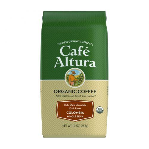 Cafe Altura, Organic Coffee, Colombia, Dark Roast, Whole Bean, 10 oz (283 g)