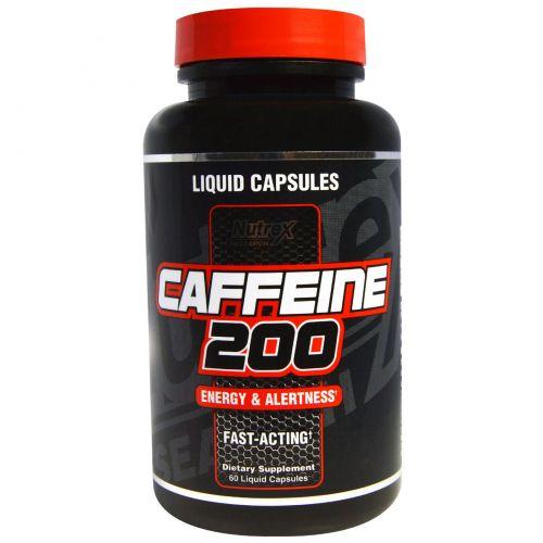 Nutrex Research Labs, Кофеин 200, энергия и внимательность, 60 капсул с жидким наполнением