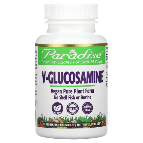 Paradise Herbs, V-глюкозамин, 750 мг, 60 растительных капсул