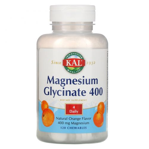 KAL, Magnesium Glycinate 400, Natural Orange Flavor, 120 Chewables