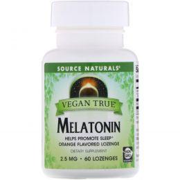 Source Naturals, Истинно Веган, Мелатонин, Апельсин, 2,5 мг, 60 таблеток