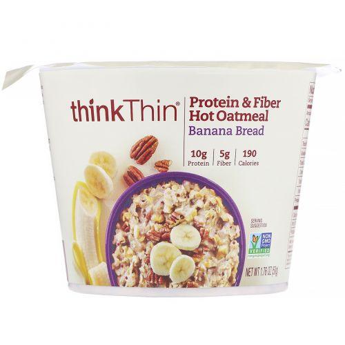 ThinkThin, Овсянка с белками и клетчаткой для приготовления горячих блюд, банановый хлеб, 50г (1,76унции)