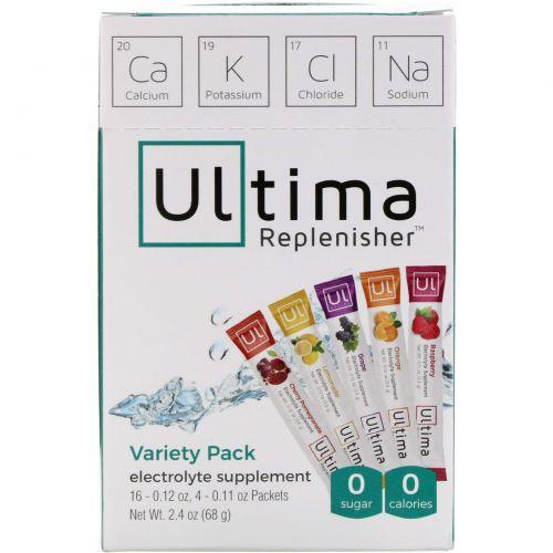 Ultima Health Products, Восстановитель Ултима, сбалансированный электролитный порошок, разный ассортимент в упаковке, 20 пакетов, 2,4 унции (68 г)