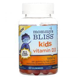 Mommy's Bliss, витамин D3 для детей, со вкусом персика, манго и клубники, 1000МЕ, 60 жевательных таблеток