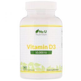 Nu U Nutrition, Vitamin D3, 10,000 IU, 365 Softgel Capsules