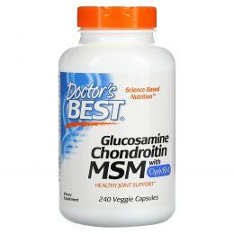 Doctor's Best, Глюкозамин, хондроитин, МСМ с ОптиМСМ, 240 вегетарианских капсул