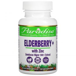 Paradise Herbs, Earth's Blend, Elderberry+ with Zinc, 60 Vegetarian Capsules