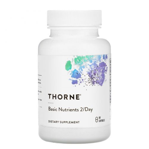 Thorne Research, Базовые питательные вещества для приема 2 раза в день, 60 капсул