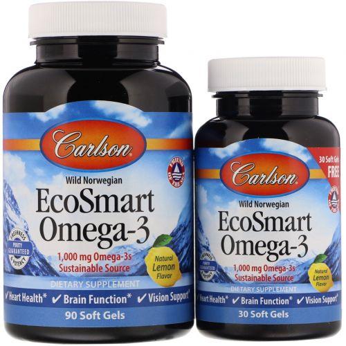 Carlson Labs, EcoSmart Omega-3, Natural Lemon Flavor, 90 + 30 Free Soft Gels
