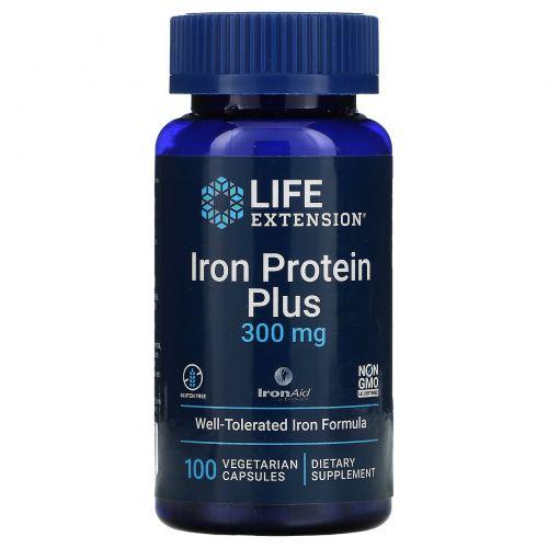 Life Extension, Iron Protein Plus, железосодержащий белок, 300 мг, 100 капсул