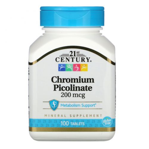 21st Century, Пиколинат хрома, 200 мкг, 100 таблеток