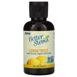 Now Foods, Стевия (Better Stevia), жидкий сахарозаменитель, лимонная цедра, 2 жидких унции (60 мл)