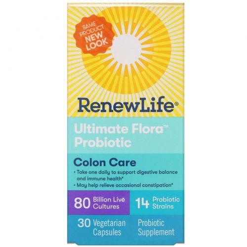 Renew Life, Ultimate Flora, Critical Colon, максимальное количество бифидобактерий, 80 миллиардов, 30 вегетарианских капсул