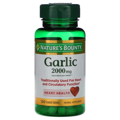 Nature's Bounty, Чеснок, здоровье сердца, 2000 мг, 120 таблеток, покрытых оболочкой