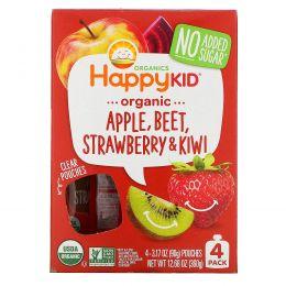 Nurture Inc. (Happy Baby), Happy Squeeze, органические суперпродукты, Twist, органические яблоко, свекла, клубника и киви, 4 упаковки, 3,17 унции (90 г) в каждой