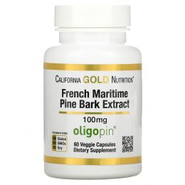 California Gold Nutrition, French Maritime Pine Bark Extract, 100 mg, Antioxidant Polyphenol, 60 Veggie Caps