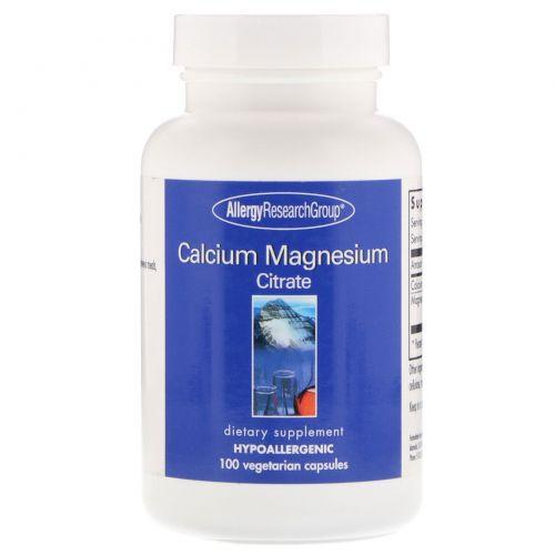 Allergy Research Group, Цитрат кальция и магния, 100 вегетарианских капсул
