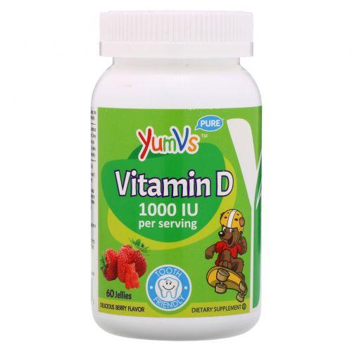 Yum-V's, Витамин D, со вкусом вишни, 1000 МЕ, 60 желейных конфет