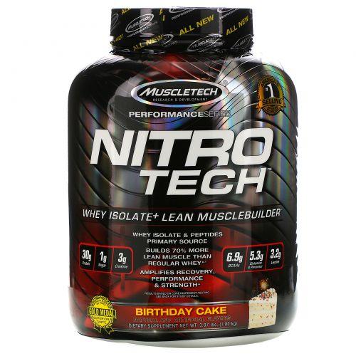 Muscletech, Nitro Tech, сывороточный изолят+ для роста сухой мышечной массы, ванильный праздничный пирог, 3,97 фунта (1,80 кг)