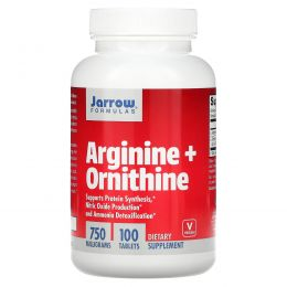 Jarrow Formulas, Аргинин + орнитин, 750 мг, 100 быстрорастворимых таблеток