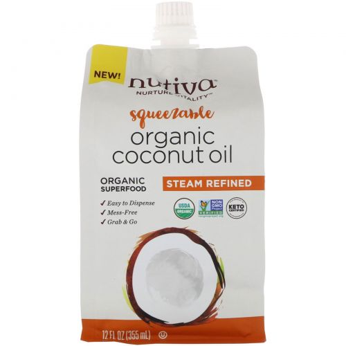 Nutiva, Organic Squeezable, Steam Refined Coconut Oil, 12 fl oz (355 ml)