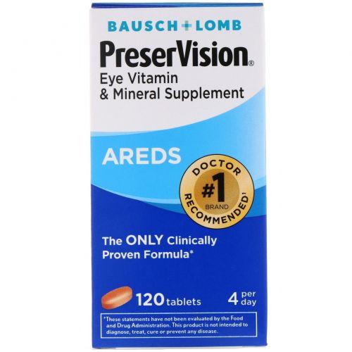 Bausch & Lomb, AREDS, витаминная и минеральная добавка для глаз, 120 таблеток