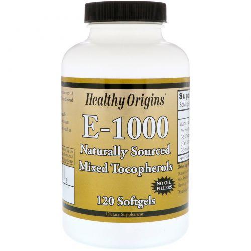 Healthy Origins, E-1000, 120 капсул