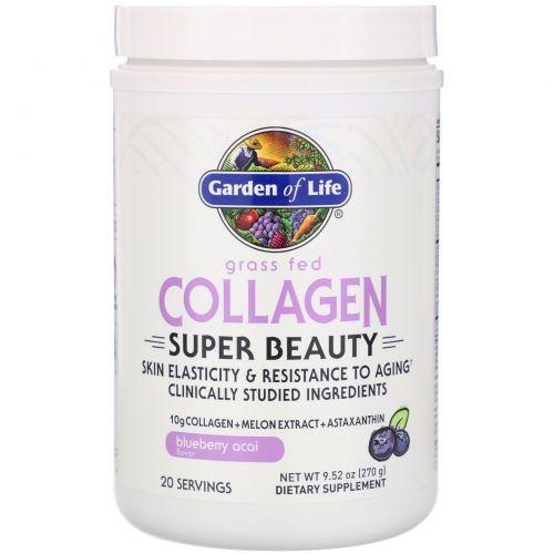 Garden of Life, Super Beauty, экологически чистый коллаген, черника и асаи, 270г (9,52унции)