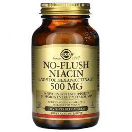 Solgar, Никотиновая кислота, без приливов жара, 500 мг, 100 вегетарианских капсул