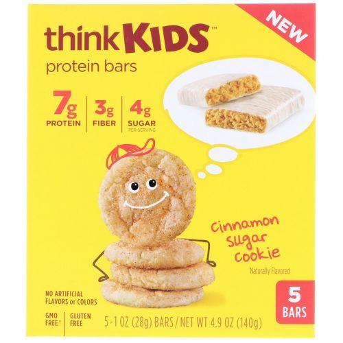 ThinkThin, ThinkKids, протеиновые батончики с корицей, 5 штук, 1 унция (28 г) каждая