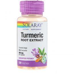 Solaray, Экстракт из корня куркумы, 300 мг, 120 вегетарианских капсул