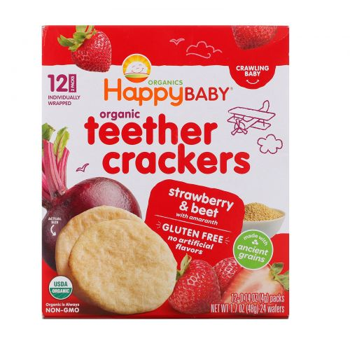 Happy Family Organics, Organic Teether Crackers, Strawberry & Beet with Amaranth, 12 Packs, 0.14 oz (4 g) Each
