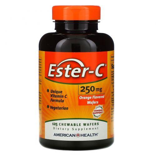 American Health, Эстер С , со вкусом апельсина, 250 мг, 125 жевательных облаток