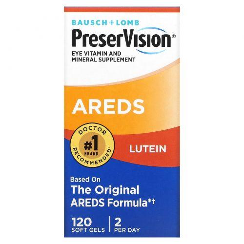 Bausch & Lomb PreserVision, AREDS Лютеин, витаминная и минеральная добавка для глаз, 120 мягких желатиновых капсул