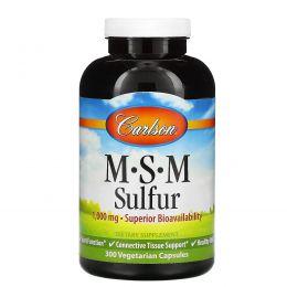 Carlson Labs, MSM Sulfur, 1000 мг, 300 вегетарианских капсул